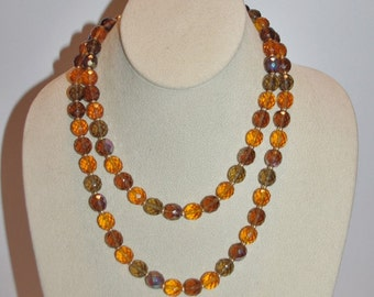 Joan Rivers Beaded Necklace - Amber Topaz and Gold 34 Inches                        - S1127