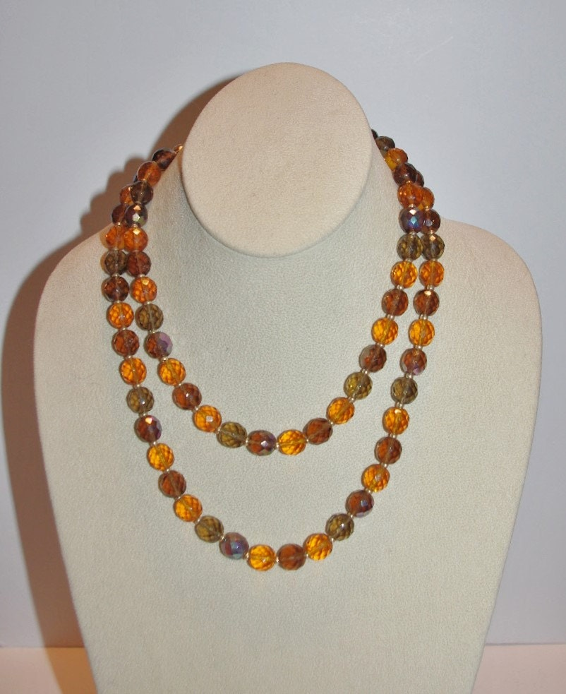 Joan rivers beaded necklace amber topaz and gold 34 inches for Joan rivers jewelry necklaces