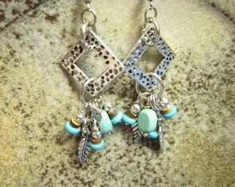 Square hoop Turquoise Boho Earrings