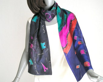 Hand Painted Silk Scarf, Unique Hand Painted Scarf, Paris Night Festivities, Bastille Day,  Multicolor Scarf, Unique Silk Scarf, Jossiani