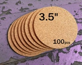 """3.5 Inch ROUND Blank Cork Coasters, 1/8"""" Thick, 100-pack"""