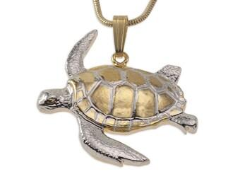 Green Sea Turtle Pendant & Necklace, Hand Cut, ( # 603 )