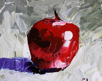 "Red apple painting small original still life 6x6"" acrylic on panel white red purple gray impressionist fruit fine art by Cristina Jaco"