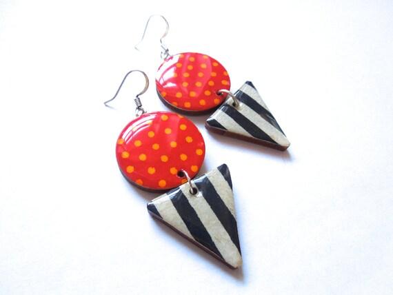 Geometric Earrings, Dangle Earrings, 80s earrings, 80s jewelry, eighties jewelry, eighties earrings, lightweight, titanium