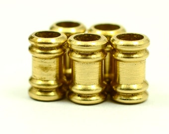 15 Pieces Raw Brass 6x10 mm Industrial Brass Tube Spacers