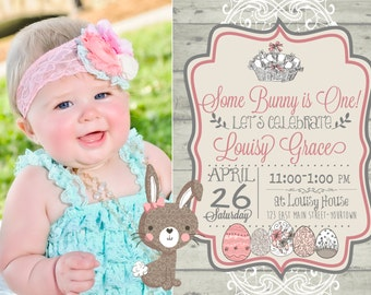 Printable Easter Birthday Some Bunny is ONE Invitation