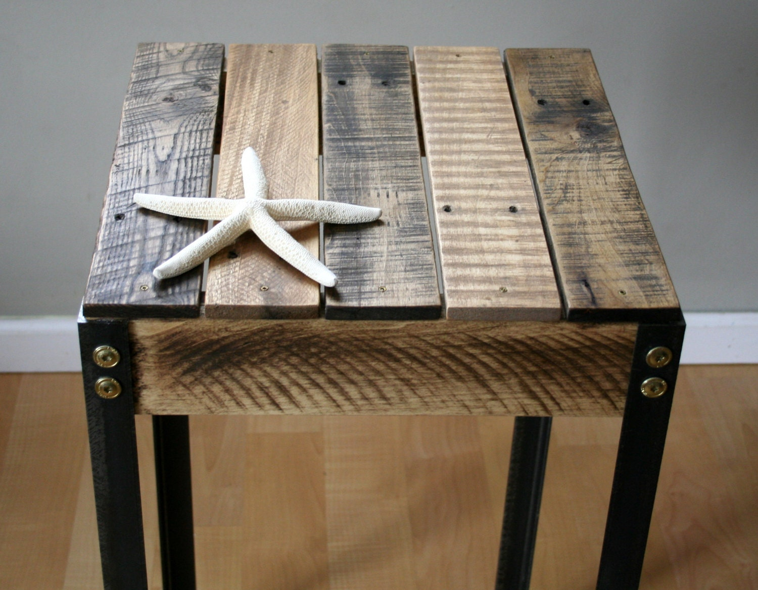 Rustic reclaimed wood side table with iron legs by for Rustic iron table legs