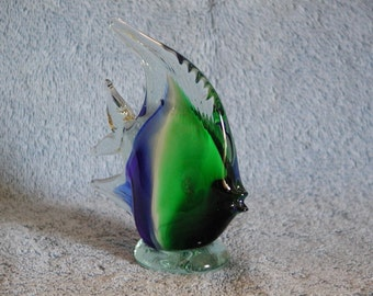 Art Glass Paperweight - Angel Fish - Murano Style