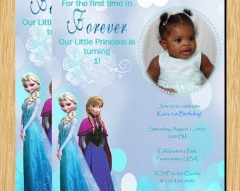 Custom Frozen inspired Printable Invite Teal blue digital invitation