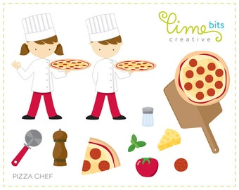 Little Pizza Chefs Clip Art