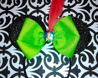 Minnie Mouse Peter Pan Red Feather inspired Headband Ears