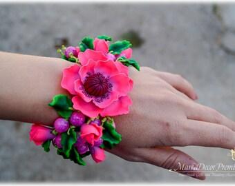 READY TO SHIP Birthday Bridal Jewelry Flower Bracelet Wedding Custom Jewelry Cuff Peony Beach Wedding Bracelet  in Neon Pink and Green