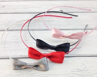 Sweet & Simple Satin Bow on Skinny Metal Headband