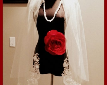 Fingertip  veil with blusher and beaded lace trim