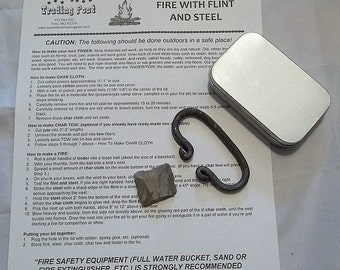 Economical Flint and Steel Fire Starting Kit - Rectangle Tin