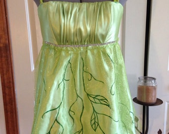 Upcycled, Recycled, Refashioned Tinkerbell Fairy Dress Mother Earth Woodland Fairy Handpainted