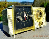 TAUPE and White Mid Century Jetsons 1959 General Electric Model C-405 Tube AM Clock Radio Totally Restored!