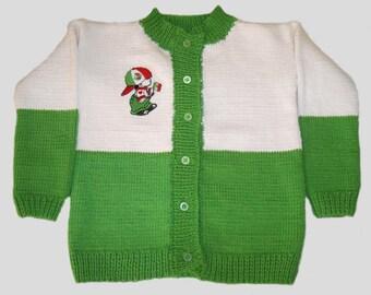 babyjacket , white , green baby jacket , green white knitted baby jacket , knitted baby jacket