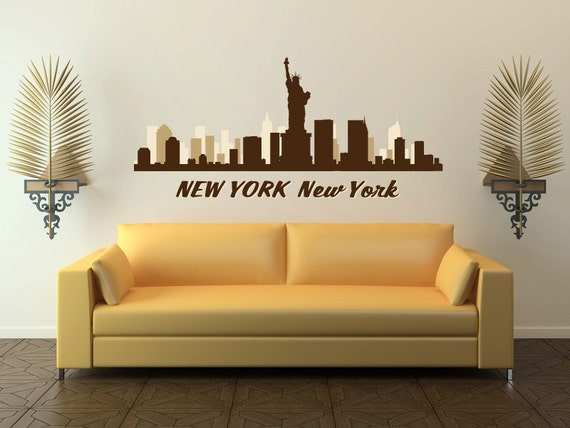 new york city ny skyline cityscape vinyl wall by stickerhog