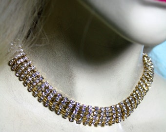 Bridal Rhinestone Choker Necklace ONLY Austrian Crystal Pageant Prom Jewelry