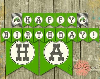 Tractor Bash Happy Birthday Banner - Green Tractor - John Deere