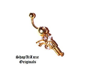 Pistol Dangle Belly Ring - Available in Gold or Silver