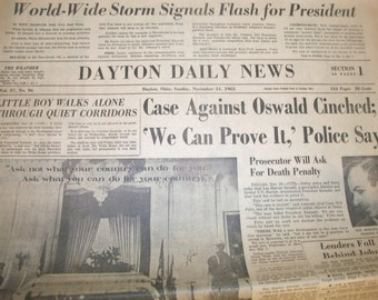 1963 Dayton Daily News Sunday Paper Newspaper 11/24/1963 JFK Lee Harvey Oswald