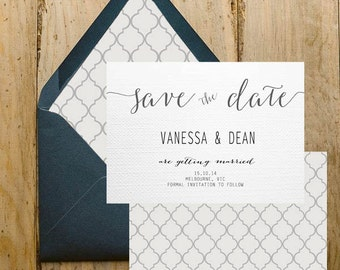 Wedding Save The Date, DIY Printable Invitation, Engagement, Print at Home, Invite, Bombshell, Classic, Envelope Liner, Unique, Stationary