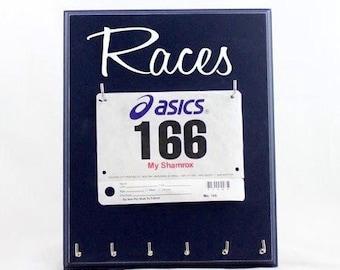 Running medal holder - race bib display and Races medals bibs running medal hanger