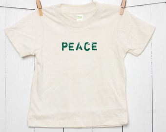 PEACE Children's Toddler's Kid's 100% Certified Organic Cotton T Shirt Printed with Waterbased Ink in Grunge Style on Natural