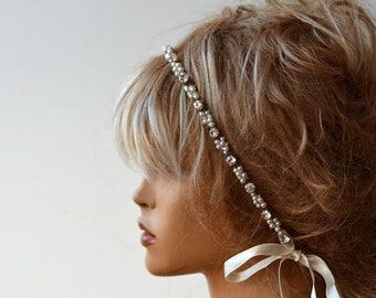 Pearl and Rhinestone Headband, Wedding Headband,  Wedding Accessories,  Bridal Hair Accessory