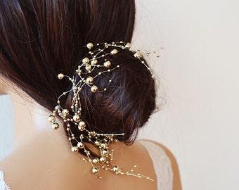 Gold Pearl  headband, Wedding gold Headband, Bridal Headband, Bridal Accessories, Wedding Accessories