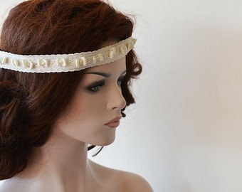Vintage Style Lace Pearl Headband,  Rustic Wedding Headband, Lace Bridal  Headband, Lace Pearl Weddings Hair, Bridal Hair Accessories