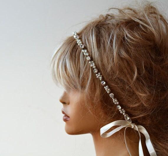 Wedding Hair With Rhinestone Headband : Pearl and rhinestone headband wedding