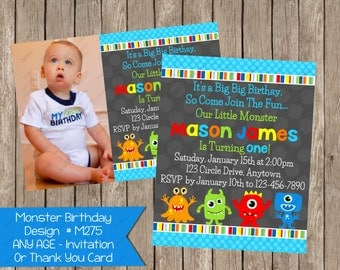 Little Monster Birthay Invitation Monsters Invite Printable - Digital File