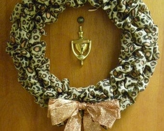 Leopard burlap wreath with bow