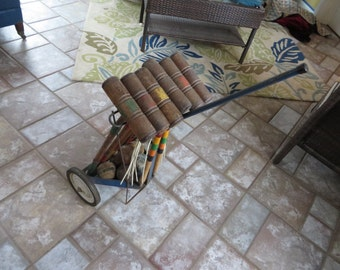 Vintage Antique Croquet Set With Stand And Wheels 20% Off Moving Sale Code COLORADO