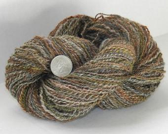 Wool yarn, handspun, 200 yards 2ply Romney wool yarn.  Gray with earth tone over dye, olive green, rust, brown, natural gray