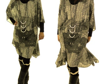 HO200GBT6 ladies plus size layered look tunic blouse asymmetrical chiffon Gr. 42, 44, 46, 48, 50, 52, 54, 56 olive / PuTTY