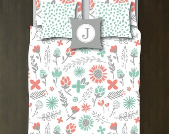 Floral Bedding Set-Duvet Cover-Shams-Grayed Jade, Coral and Grey-Customize Colors-Twin XL/Full/Queen/King-Bedroom-Kids Room-Girl-Flower-Size