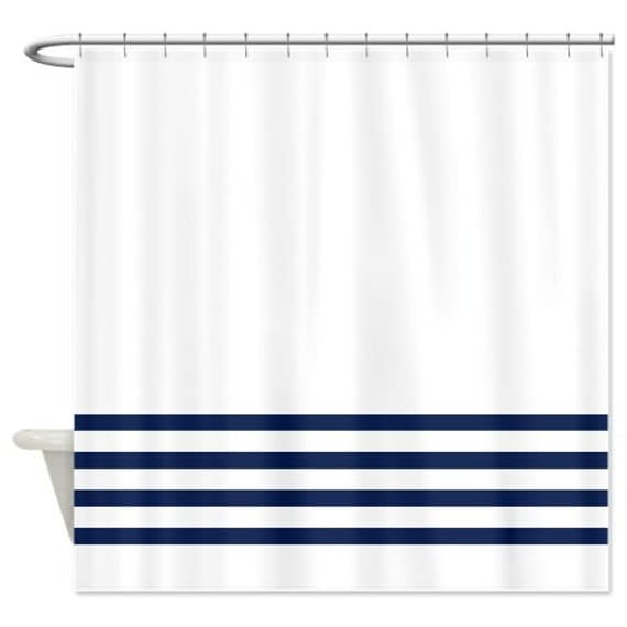 Striped Shower Curtain White With Navy Blue Stripes Or
