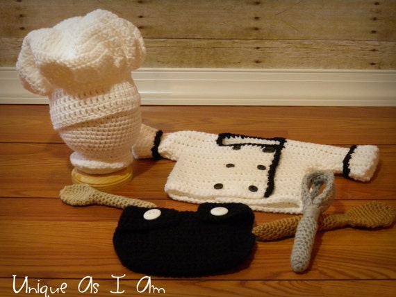 Crochet Pattern Chef Hat : Crochet Baby Chef Outfit/Photo Prop