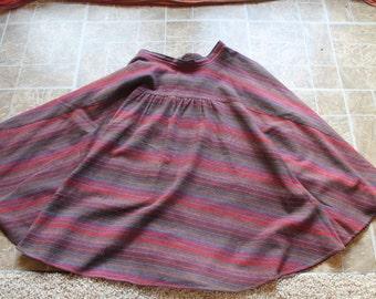 Vintage Long Striped Swing Skirt