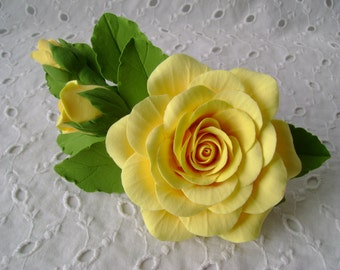 Hair barrette polymer clay flower. Yellow rose with buds.