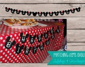HAPPY BIRTHDAY Banner Mickey or Minnie Mouse Download Printable Birthday Party Red Black Decorations 8.5x11 Diy polka dot