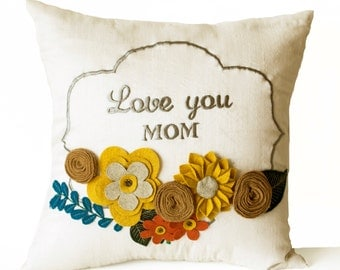 Decorative Pillow Cover, Flower Pillow, Floral Love You Pillow Case, 16x16, Gift, Gift For Mom Mum, Mothers Day, Nursery Decor Dorm, Wedding