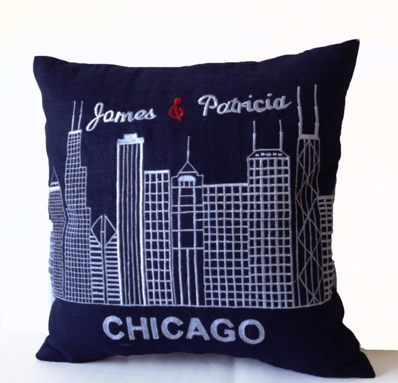 Personalized Embroidered Throw Pillows : Items similar to Decorative Throw Pillow Cover with Embroidered Chicago City Skyline, Sofa ...
