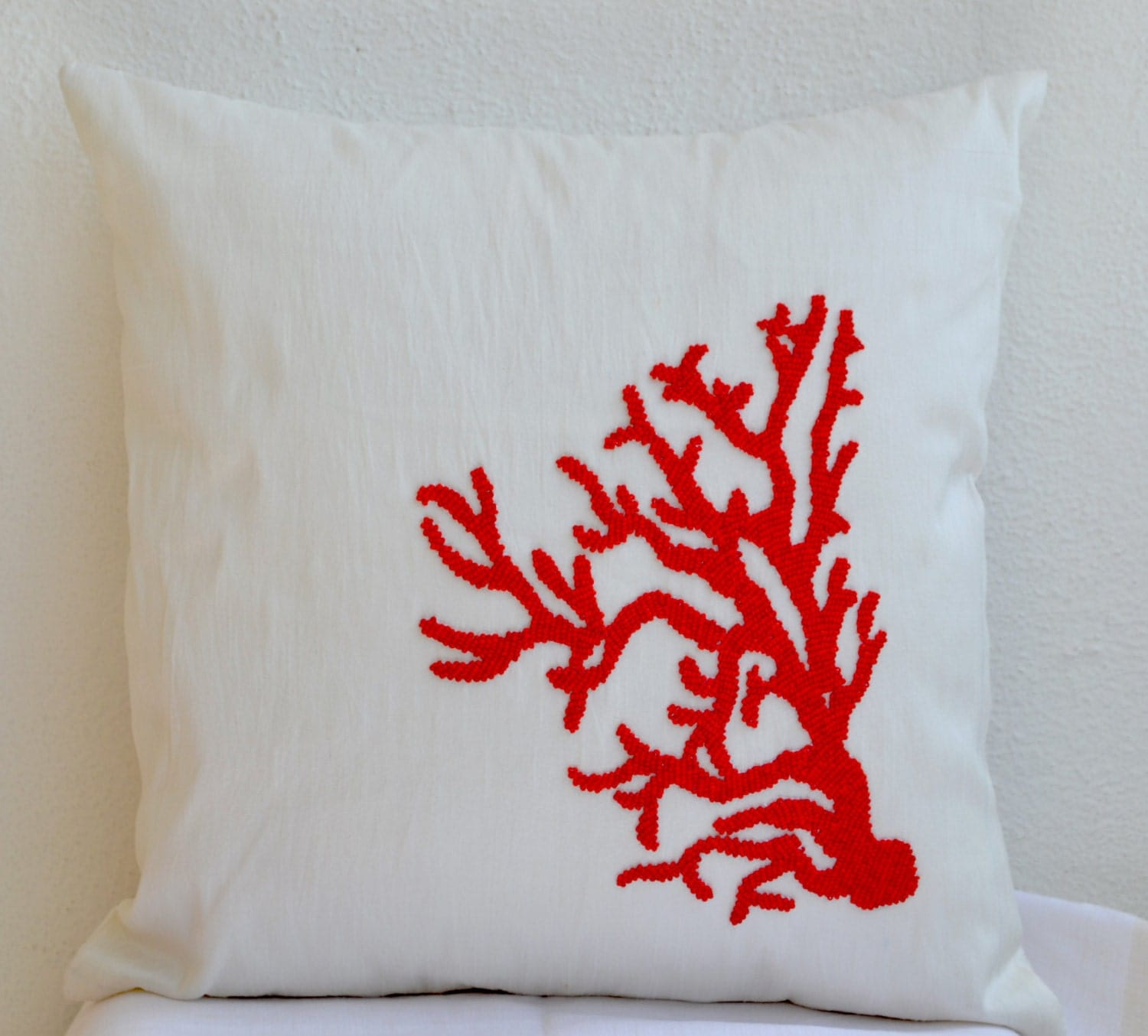 Coral Pillow Red White Pillow Decorative Throw Pillow Cover