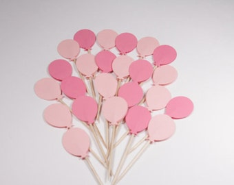30 Cupcake topper - light pink/dark pink balloons - party
