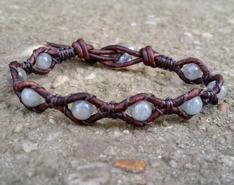 labradorite leather wrap bracelet single wrap earthy bracelet antique brown leather boho b